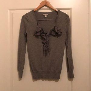 Gap Sweater size Small Gray Ruffled GUC